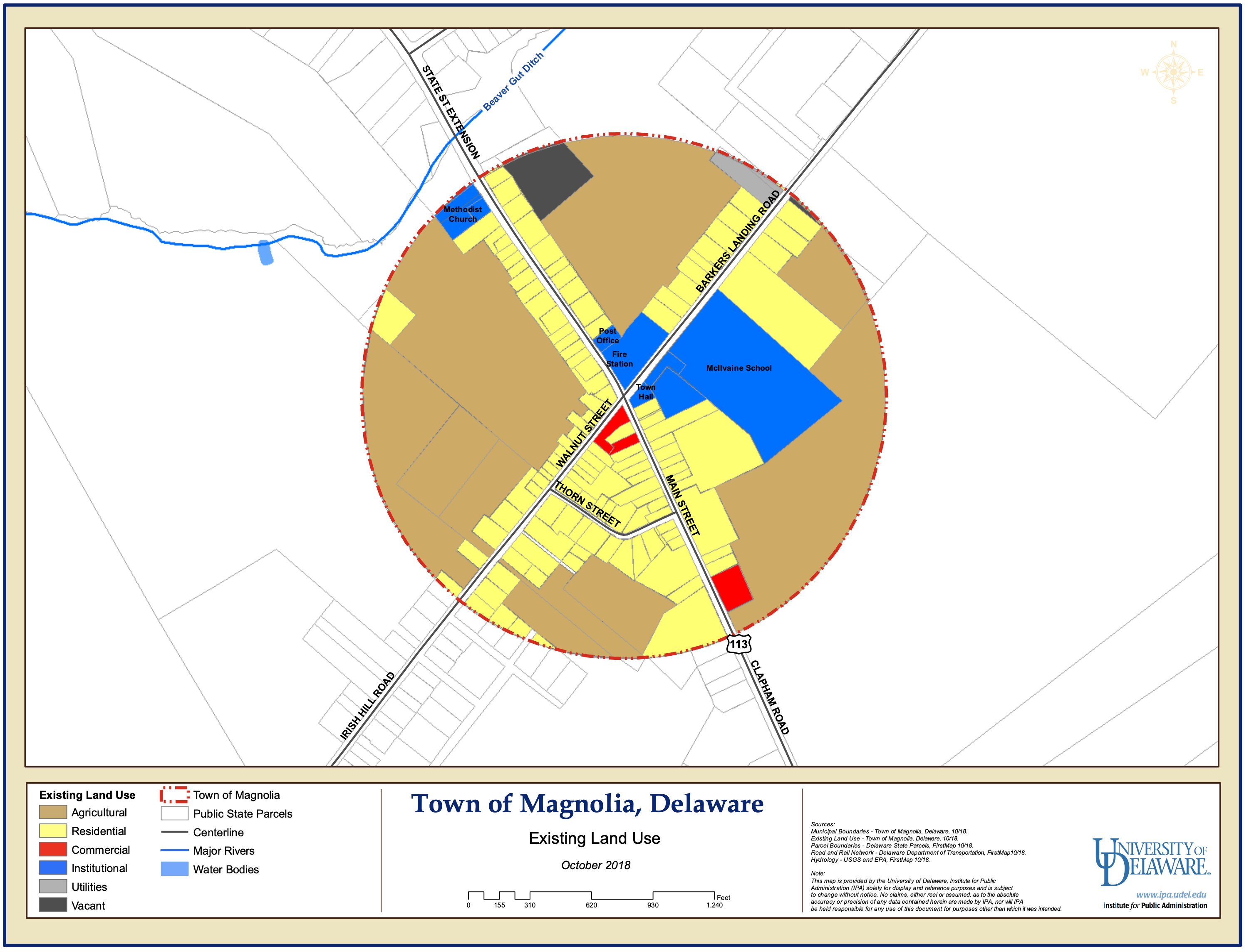 Map of the Town of Magnolia, Delaware - Existing Land Use from October 2018
